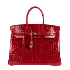 Hermes Braise Crocodile Gold Hardware Lipstick Red Birkin 35 Bag