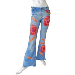 Kosiuko Rare Vintage Jeans with Large Roses Embellished Jeans  New Condition