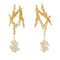 Loveness Lee Ailin Gold and Silver Dangle Drop Textured Earrings