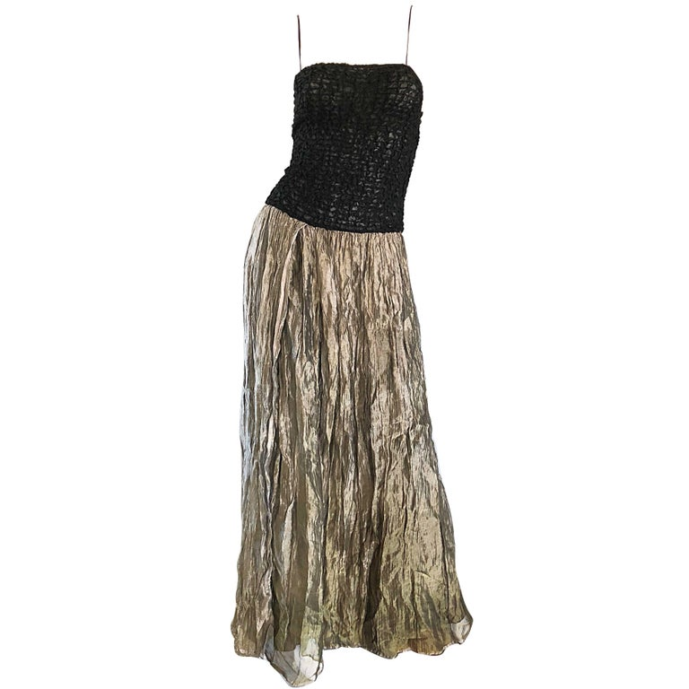 Vintage Morgane Le Fay 1990s Black + Gold Metallic Ombre 90s Evening Gown Dress