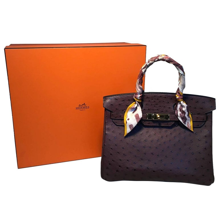 0c40bf770dbb STUNNING Hermes Brown Ostrich 30cm Birkin Bag For Sale at 1stdibs