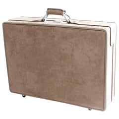 Halston for Hartmann Sueded 25 Inch Rolling Suitcase with Keys and Luggage Tag