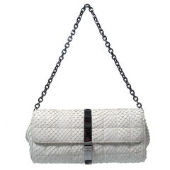 Chanel White Snakeskin Small Chain Clutch Purse with Silvertone Hardware