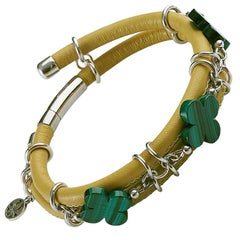 Rock Lily Yellow Leather Bangle Bracelet With Malachite Clovers In 925 Silver