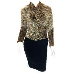 Vintage Vicky Tiel Couture Black Velvet Lurex Leopard Cheetah Print Mini Dress