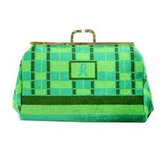 Roberta Di Camerino Green Trompe L'Oeil Print Velvet Clutch Bag, circa 1970s