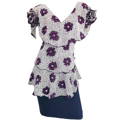 Vintage Holly's Harp Black and White + Purple Flower Print Avant Garde Dress