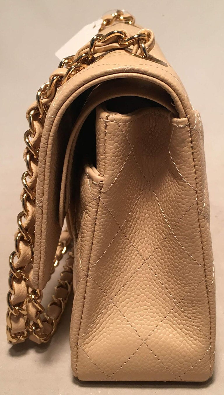 d13e8bff5dc6d9 Beige Chanel Nude 10inch Quilted Caviar 2.55 Double Flap Classic Shoulder  Bag For Sale