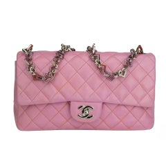 Chanel Limited Edition Valentines Rare Heart Charm Pink Classic Flap
