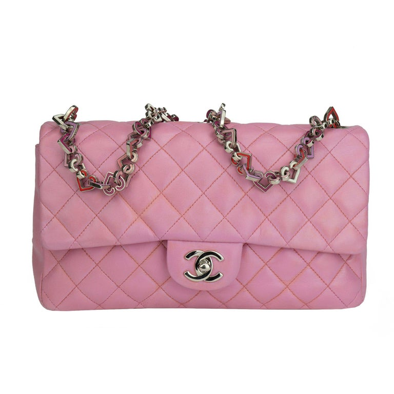 Chanel Limited Edition Valentines Rare Heart Charm Pink Classic Flap For Sale