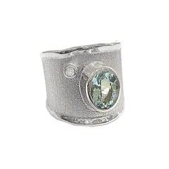 Yianni Creations 1.60 Carat Aquamarine and Diamond Fine Silver 950 Ring