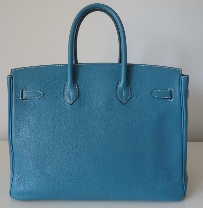 Hermès Taurillon Clemence Bleu Jean PHW 35 cm Birkin Top Handle Bag In Excellent Condition In ., FR