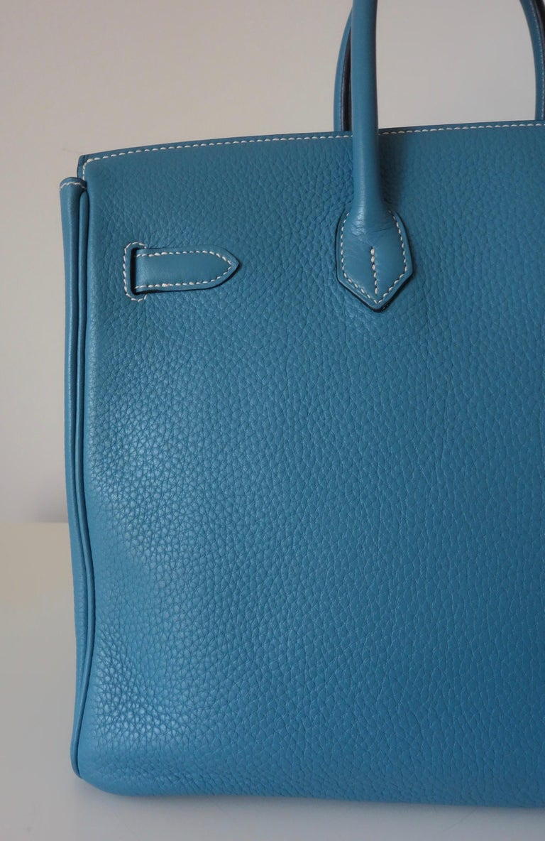 Women's Hermès Taurillon Clemence Bleu Jean PHW 35 cm Birkin Top Handle Bag