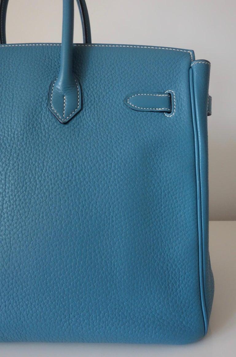 Hermès Taurillon Clemence Bleu Jean PHW 35 cm Birkin Top Handle Bag 1
