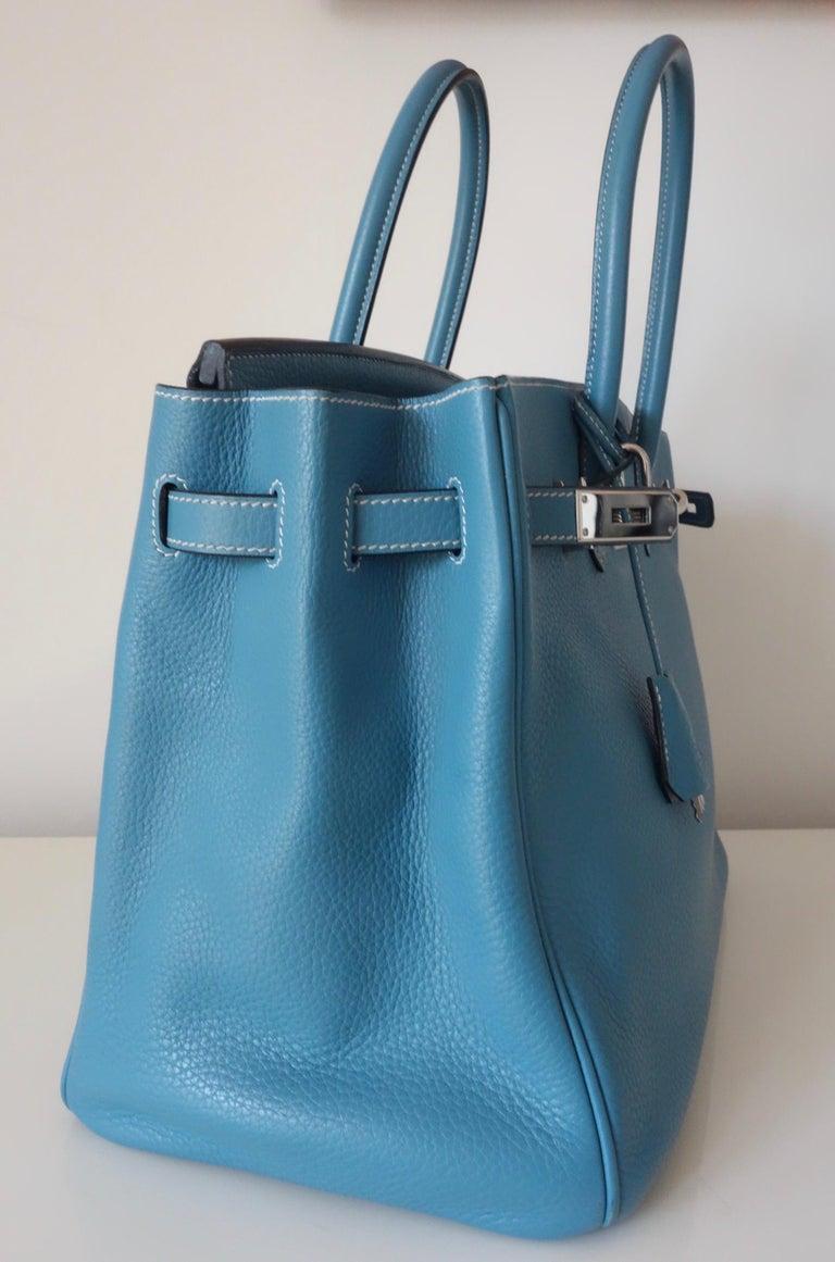 Hermès Taurillon Clemence Bleu Jean PHW 35 cm Birkin Top Handle Bag 2
