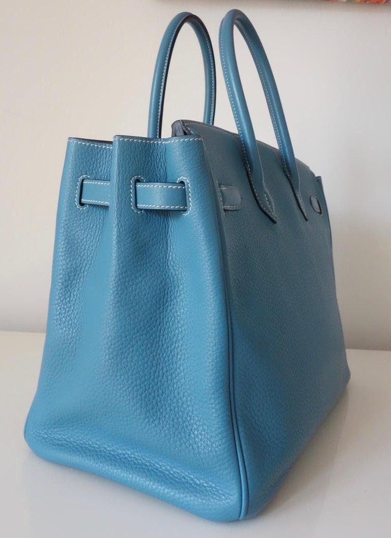 Hermès Taurillon Clemence Bleu Jean PHW 35 cm Birkin Top Handle Bag 3