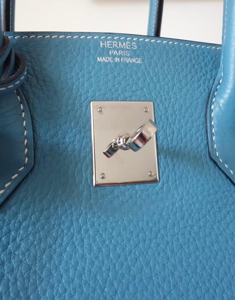 Hermès Taurillon Clemence Bleu Jean PHW 35 cm Birkin Top Handle Bag 4