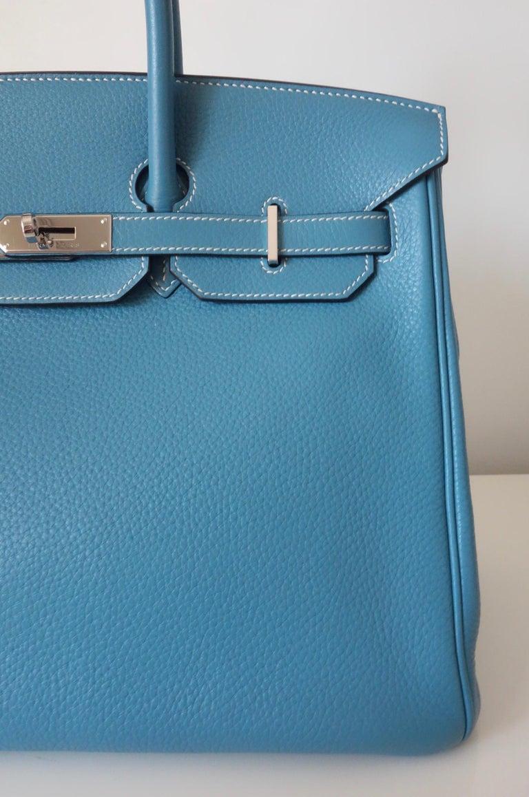 Hermès Taurillon Clemence Bleu Jean PHW 35 cm Birkin Top Handle Bag 5