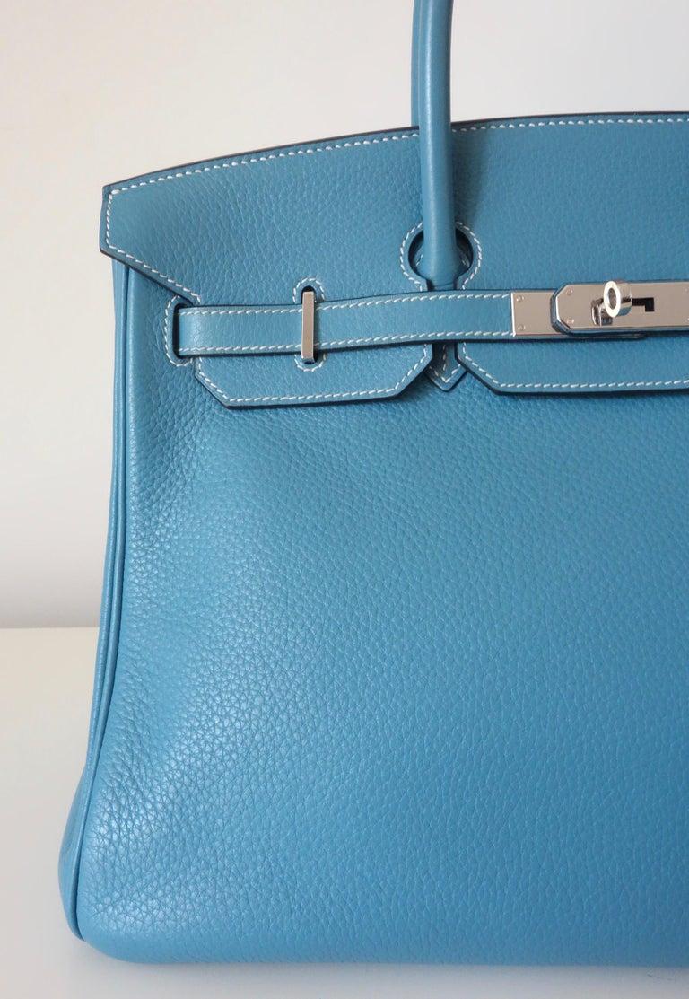 Hermès Taurillon Clemence Bleu Jean PHW 35 cm Birkin Top Handle Bag 6