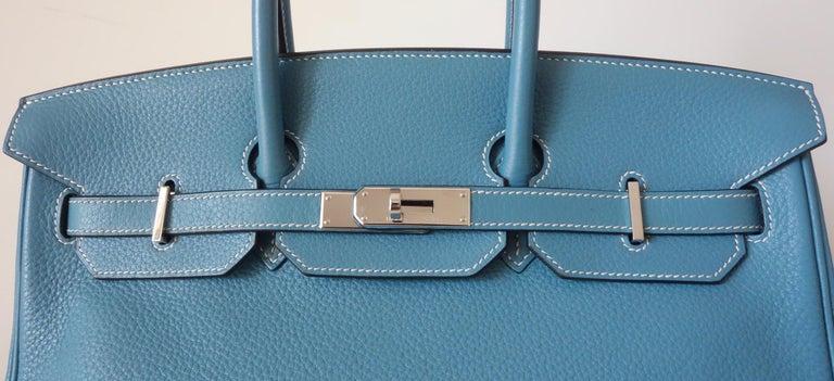 Hermès Taurillon Clemence Bleu Jean PHW 35 cm Birkin Top Handle Bag 7