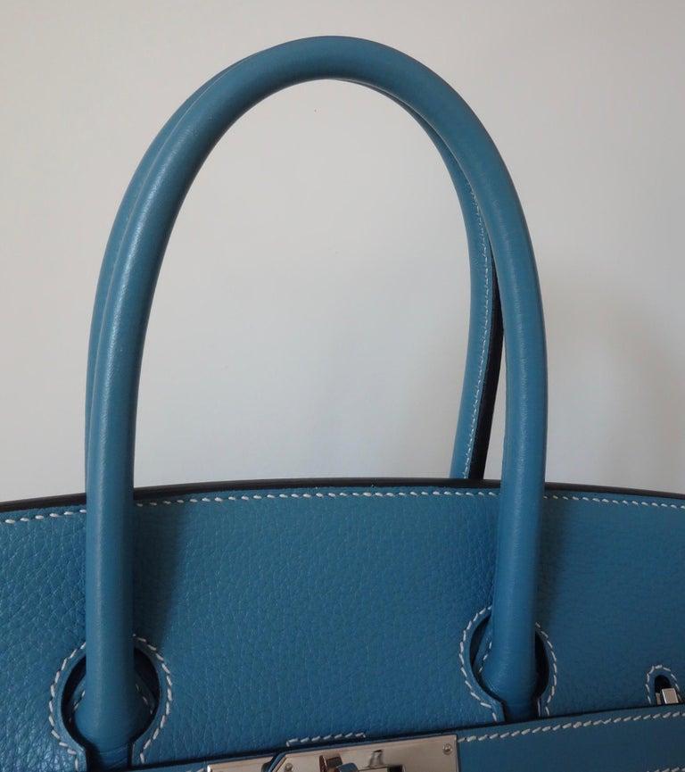 Hermès Taurillon Clemence Bleu Jean PHW 35 cm Birkin Top Handle Bag 8