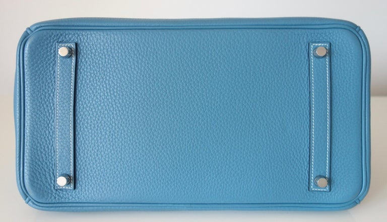 Hermès Taurillon Clemence Bleu Jean PHW 35 cm Birkin Top Handle Bag 10