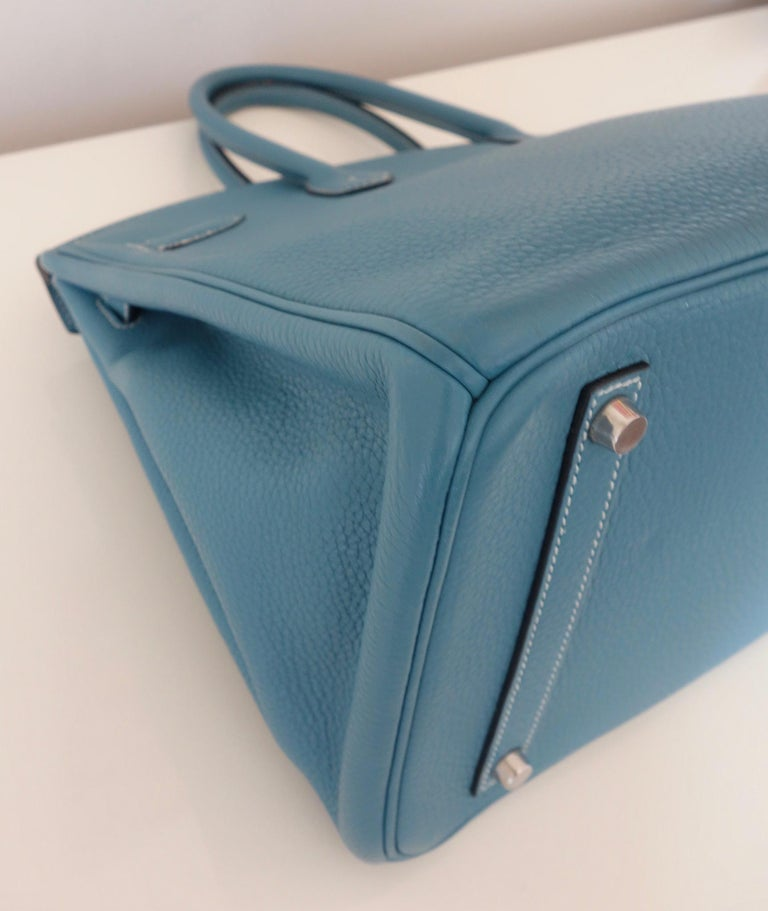 Hermès Taurillon Clemence Bleu Jean PHW 35 cm Birkin Top Handle Bag 11