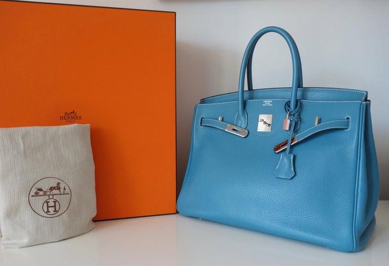 Hermès Taurillon Clemence Bleu Jean PHW 35 cm Birkin Top Handle Bag 13