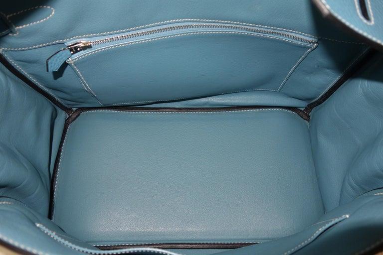 Hermès Taurillon Clemence Bleu Jean PHW 35 cm Birkin Top Handle Bag 14