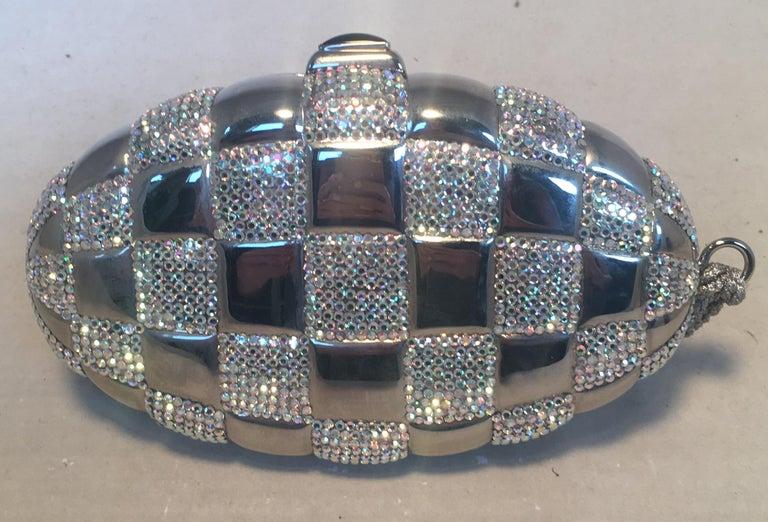 Gray Judith Leiber Swarovski Crystal Checkered Grenade Minaudiere Evening Bag For Sale