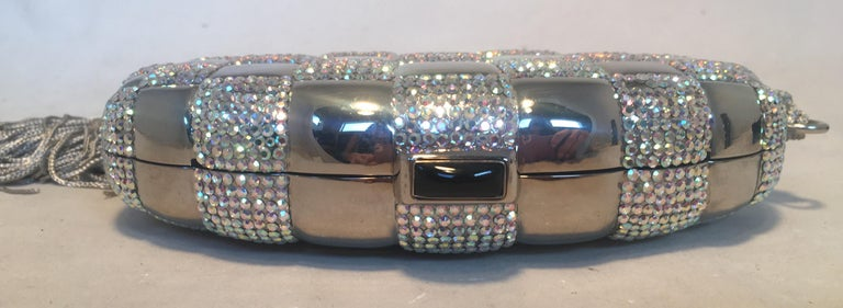 Judith Leiber Swarovski Crystal Checkered Grenade Minaudiere Evening Bag In Excellent Condition For Sale In Philadelphia, PA