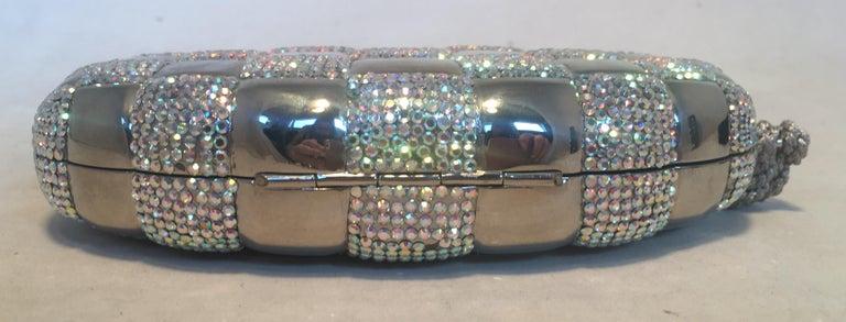 Women's Judith Leiber Swarovski Crystal Checkered Grenade Minaudiere Evening Bag For Sale