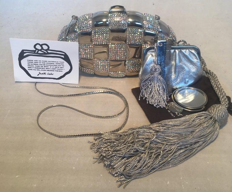 Judith Leiber Swarovski Crystal Checkered Grenade Minaudiere Evening Bag For Sale 3