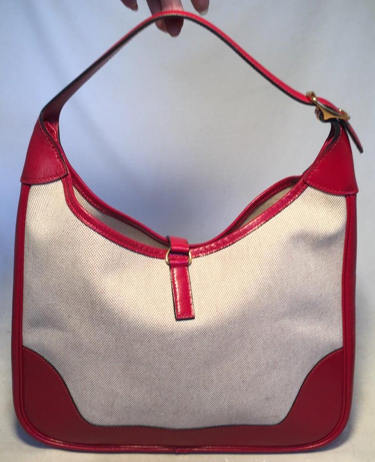 Beige Hermes vintage Canvas and Red Leather Trim Shoulder Bag For Sale