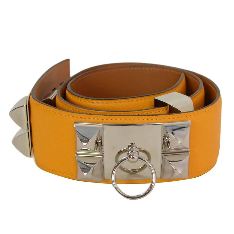 HERMES 2012 Yellow Epsom Leather Collier de Chien CDC Belt sz 75 rt $2,350 1
