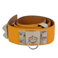 HERMES 2012 Yellow Epsom Leather Collier de Chien CDC Belt sz 75 rt $2,350