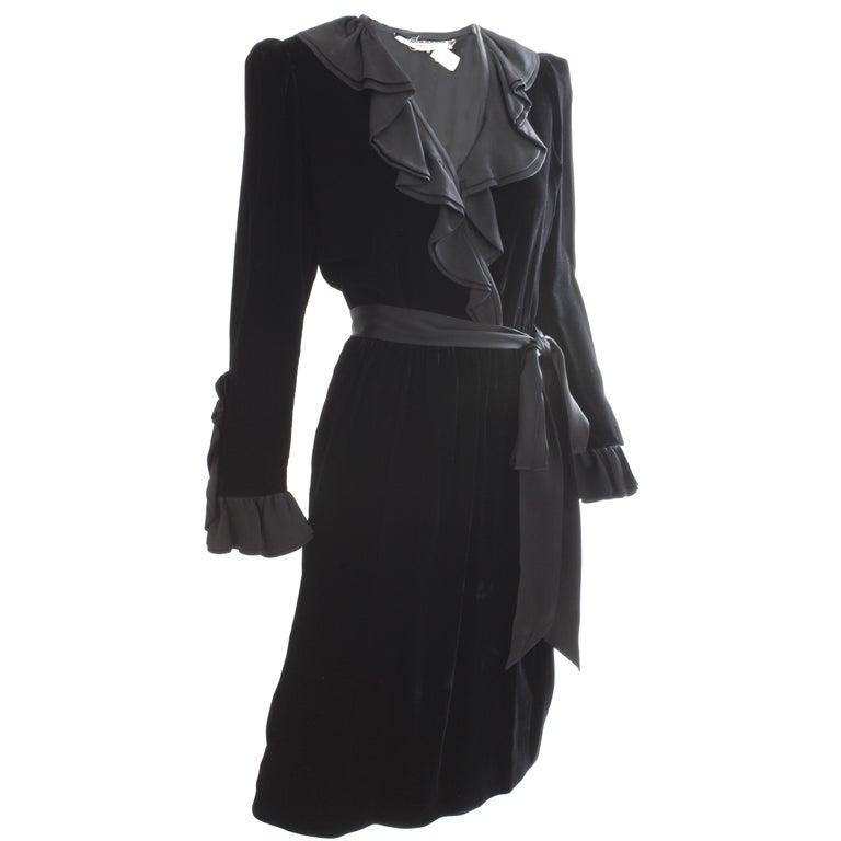 e1973eb92a Yves Saint Laurent YSL Black Silk Velvet Cocktail Dress with Ruffles, 1970s