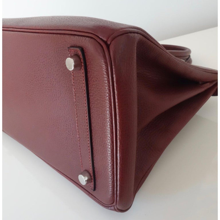 Hermès Taurillon Clemence Leather Bordeaux Burgundy Phw 30 cm Birkin Bag   In Excellent Condition In ., FR