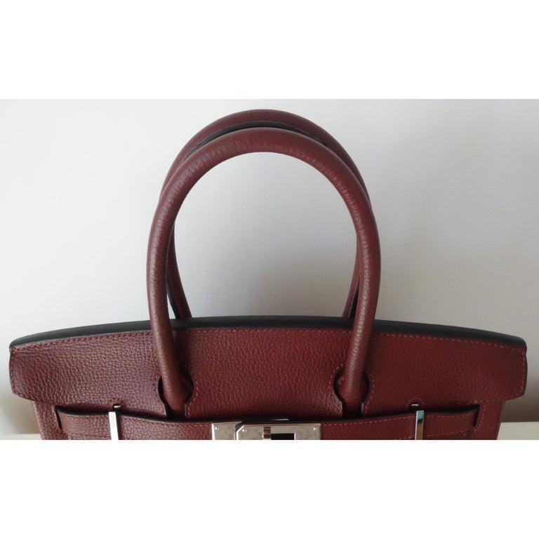 Hermès Taurillon Clemence Leather Bordeaux Burgundy Phw 30 cm Birkin Bag   1