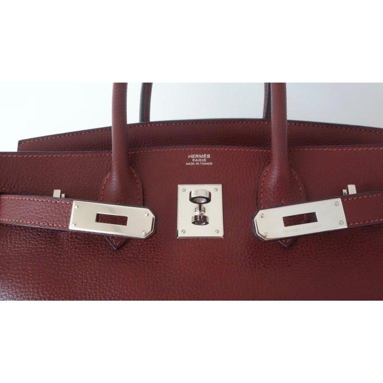 Hermès Taurillon Clemence Leather Bordeaux Burgundy Phw 30 cm Birkin Bag   2