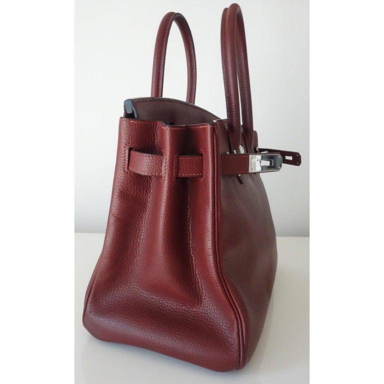 Hermès Taurillon Clemence Leather Bordeaux Burgundy Phw 30 cm Birkin Bag   3
