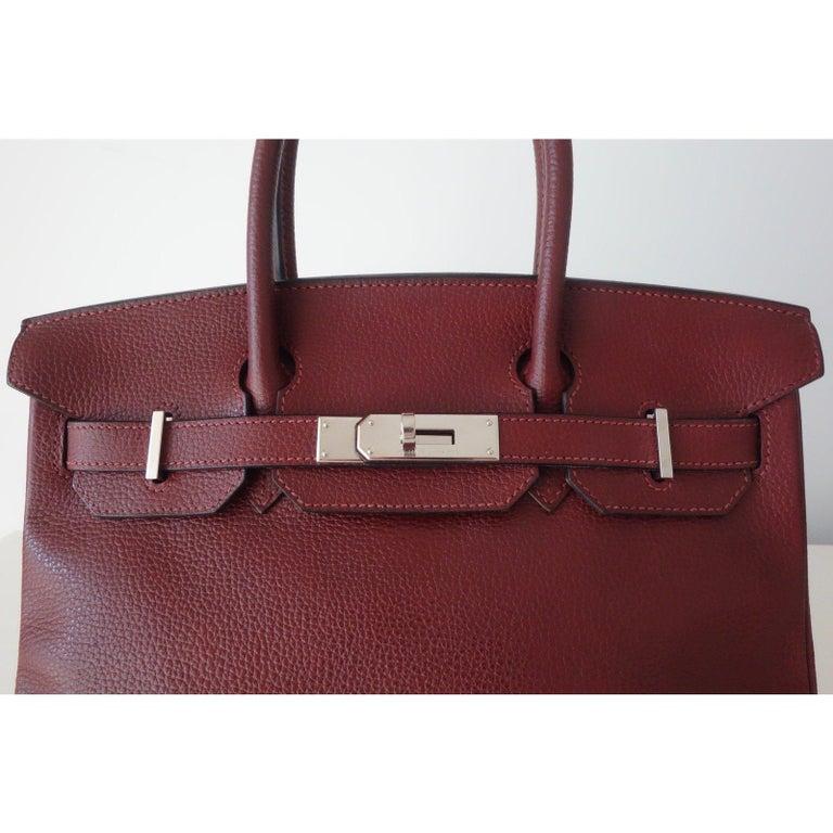 7d50a8c157 Hermès Taurillon Clemence Leather Bordeaux Burgundy Phw 30 cm Birkin Bag  For Sale 4