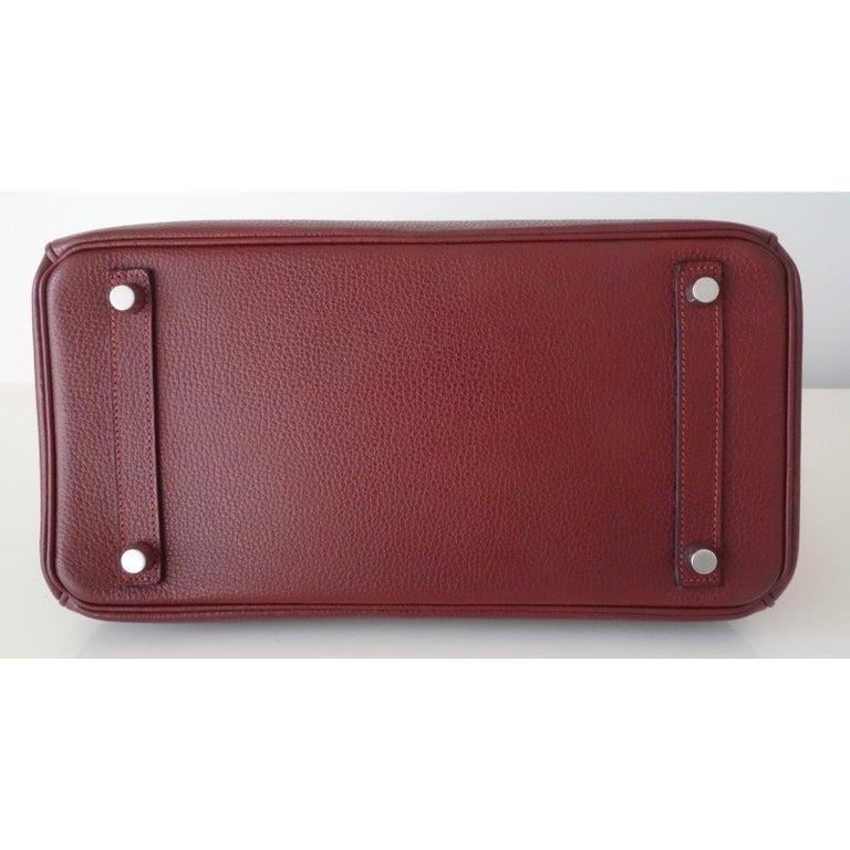 Hermès Taurillon Clemence Leather Bordeaux Burgundy Phw 30 cm Birkin Bag   6