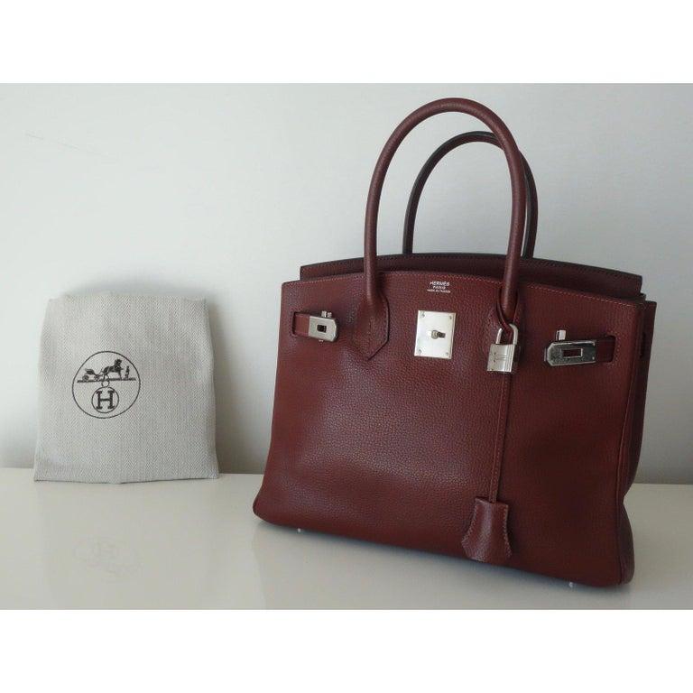 Hermès Taurillon Clemence Leather Bordeaux Burgundy Phw 30 cm Birkin Bag   7