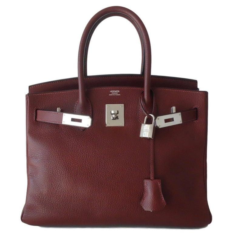 Hermès Taurillon Clemence Leather Bordeaux Burgundy Phw 30 cm Birkin Bag   8