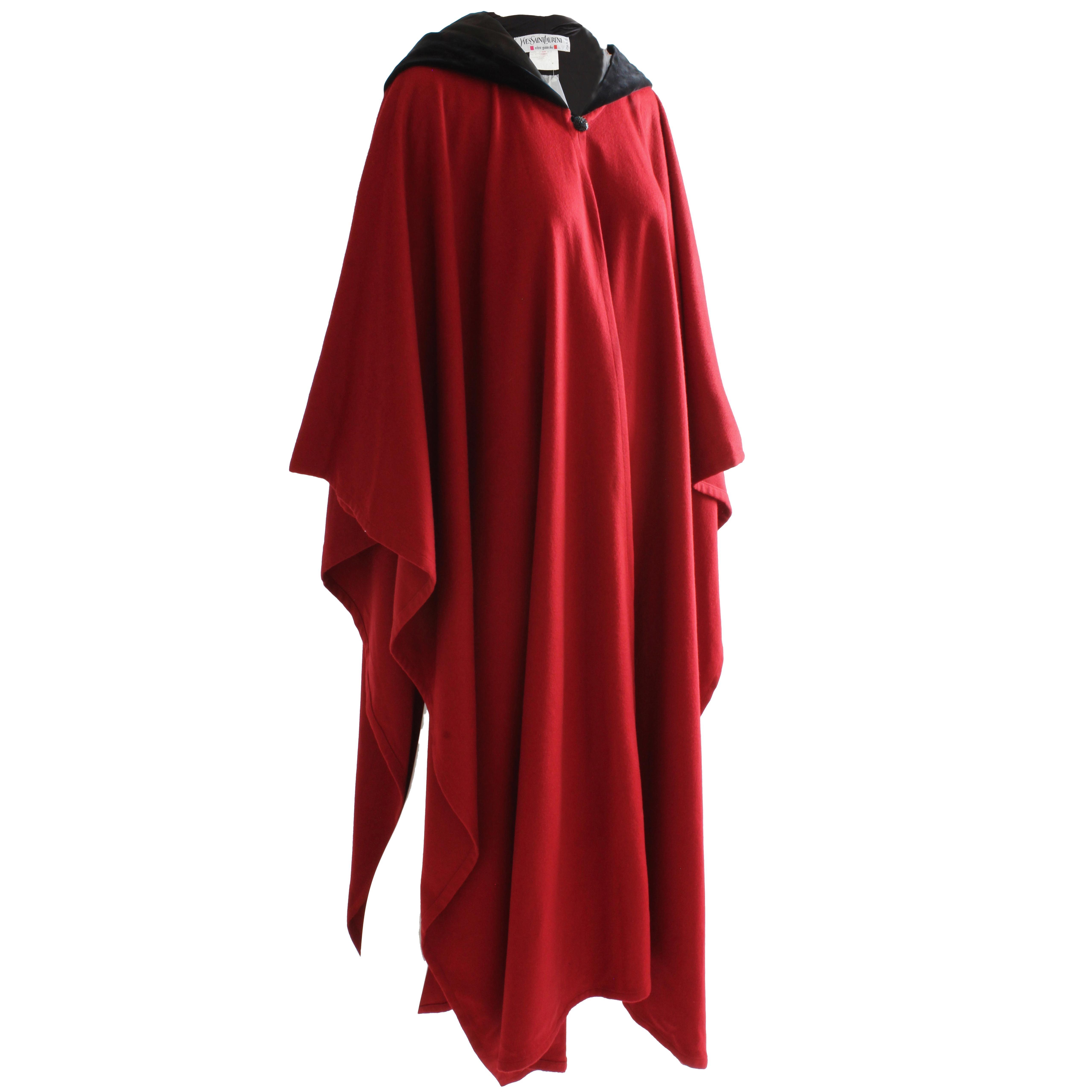 90437019c89 70s Yves Saint Laurent Wool Cape with Black Velvet Hood Rare New Old Stock  Sz 38 For Sale at 1stdibs