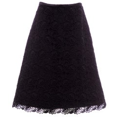 Alexander McQueen Black Silk Cotton Guipure Lace Evening Skirt, Fall 2006
