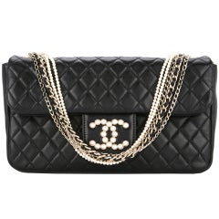 35d999fb56a29f Chanel Black Lambskin Diamond Stitch Pearl Medium Classic Westminster Flap  Bag
