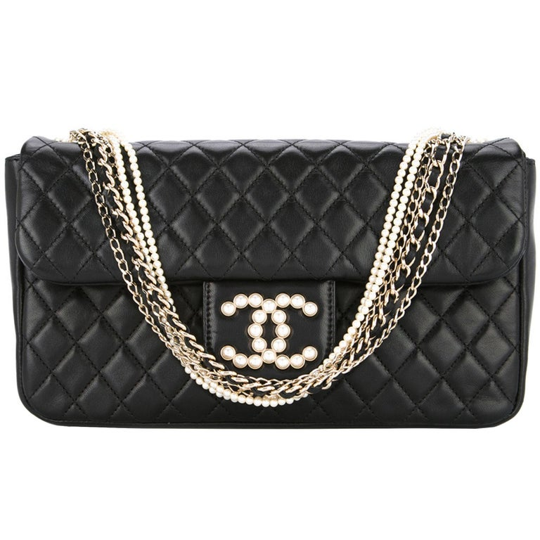 Chanel Black Lambskin Diamond Stitch Pearl Medium Classic Westminster Flap Bag