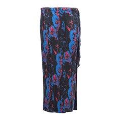 Issey Miyake Navy Blue Printed Silk Pleated Skirt,  Spring 2007